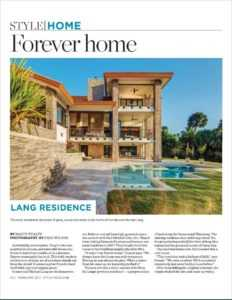 The cover story of the style magazine , herald tribune, sarasota, luxury waterfront home, frank lloyd wright, mid century modern