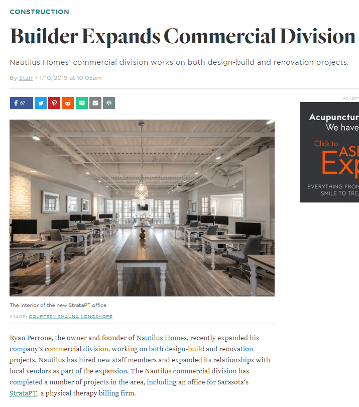 Nautilus Homes' commercial division works on both design-build and renovation projects.