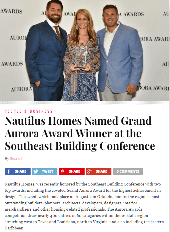 Nautilus Homes Named Grand Aurora Award Winner at the Southeast Building Conference
